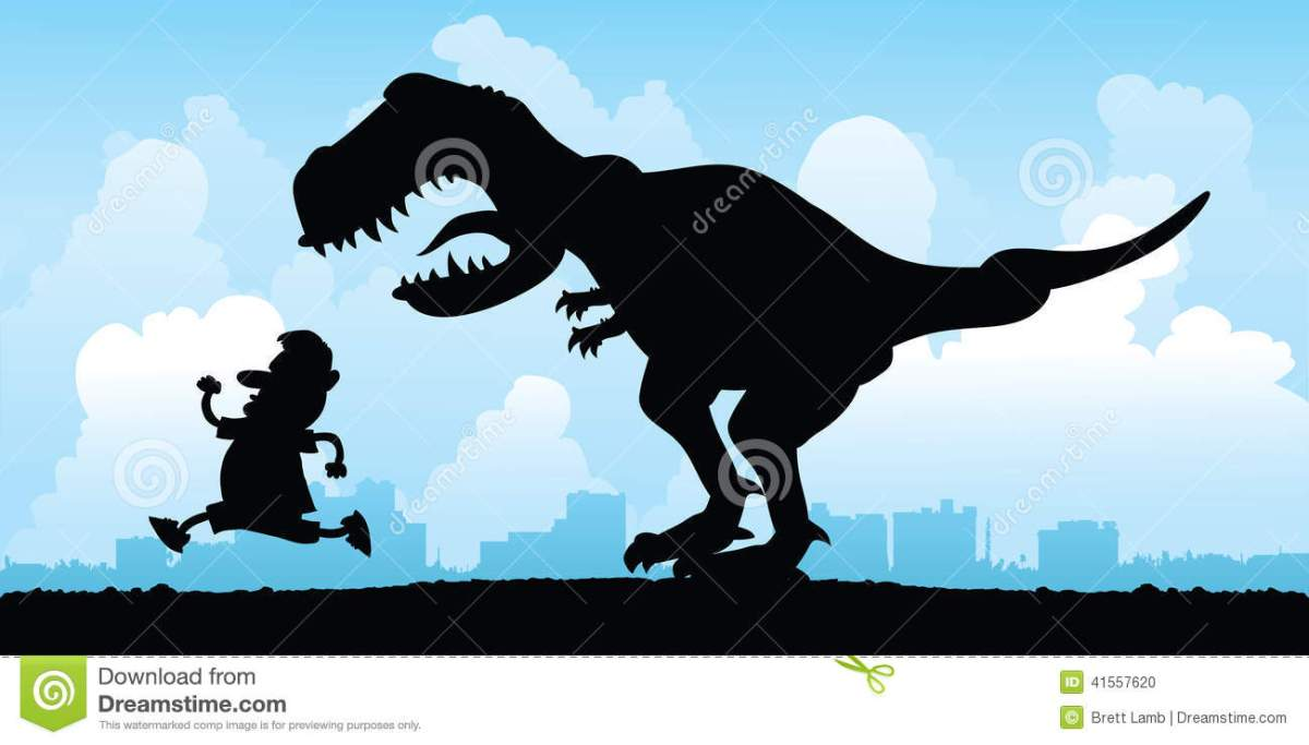 dinosaur-chase-cartoon-silhouette-man-being-chased-vicious-t-rex-41557620